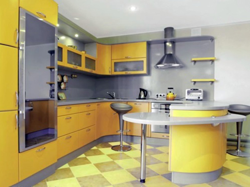 Yellow With Grey Cabinet