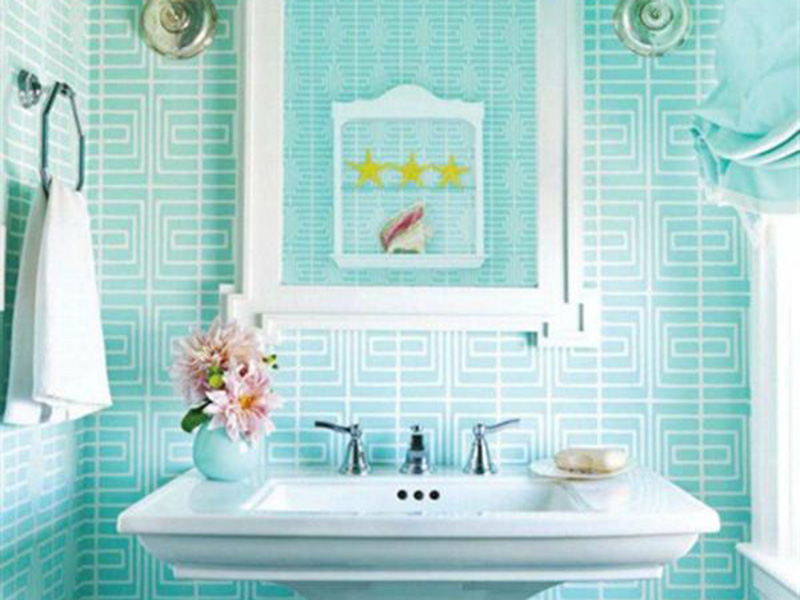 Mint And White Bathroom Wall Tiles