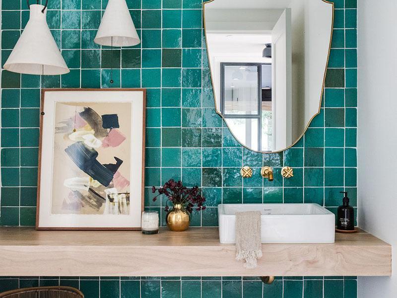 Sea Green Wall Tiles Bath Room