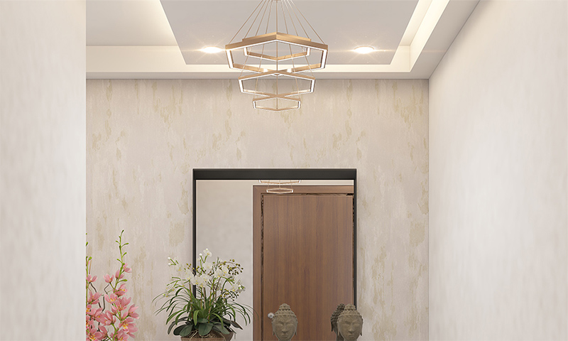 Angular Lobby Ceiling Design With Soothing Lights