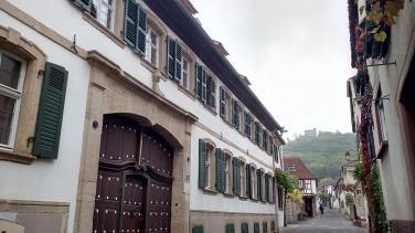 Winzergasse mit Blick auf das Hambacher Schloss