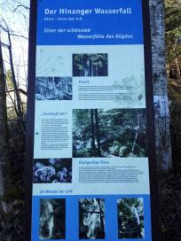 Infotafel zum Hinanger Wasserfall