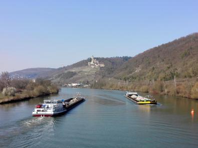 Blick von der Neckarbrücke zur Burg Hornberg