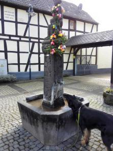 Osterbrunnen mit Trinkgelegenheit für Doxi
