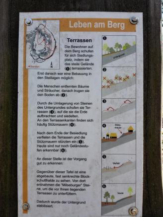 Infotafel zur Terrassenbildung durch frühe Siedler an der Milseburg