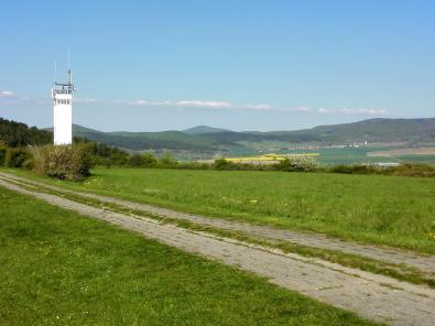 Der DDR-Kolonnenweg zwischen Wachturm und Grenzzaun