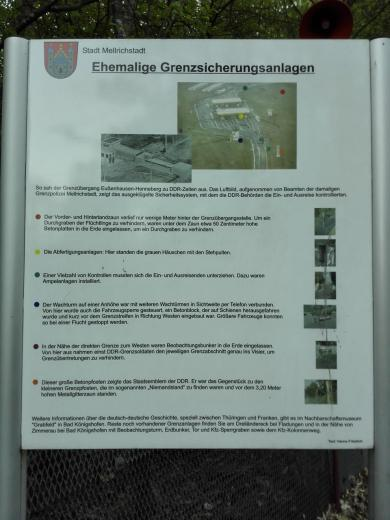 Infotafel zur ehemaligen Grenzanlage