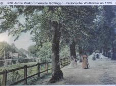 Flanieren auf dem Wall. Historisches, nachkoloriertes Foto aus dem Jahr 1850