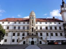 """Der """"Wendelstein"""", eine fast 20 Meter hohe freitragende steinerne Wendeltreppe mit aufwändig gestalteten Wappen und Verzierungen"""