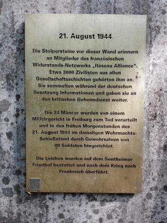 Am Schießstand im Wald wurden im zweiten Weltkrieg französische Freiheitskämpfer standrechtlich erschossen