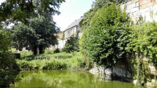 Teich neben dem Zugang zur Burg