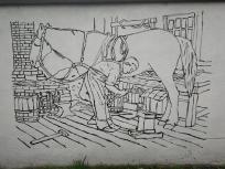 Wandmalerei an einem Haus zwischen dem Hoppburch und Schloss Rheydt