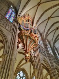 Die Schwalbennestorgel hängt hoch oben in der Fassade