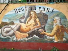 Wandbemalung an einem Restraurant mit Lahn-Terrasse