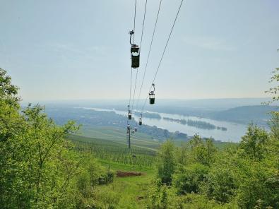 Die meisten Besucher kommen mit der Kabinenseilbahn von Rüdesheim herauf zum Niederwalddenkmal - wir sind natürlich gelaufen