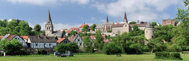 Blick auf die historischen Teile von Warburg