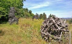 Kunst aus Holz auf einer Wiese bei Birrekoven