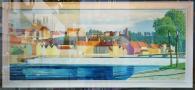 Altstadtpanorama von Landsberg als Zeichnung im Schaufenster einer Galerie