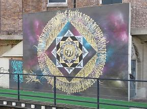 Graffiti an der Leie in der Nähe des Gerichts