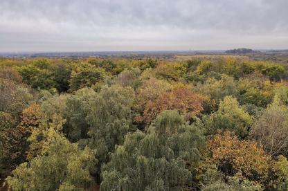 Blick von der Spitze des Aussichtsturms Richtung Düsseldorf im Süden