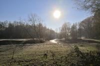 Die Wurm mäandert duch das Tal und hat sich tief in die Wiesenlandschaft eingegraben