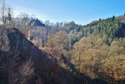 Seitenblick auf die Burg oberhalb des Warchetals