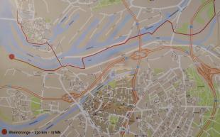 Karte mit der Ruhrmündung und den Duisburger Hafenbecken