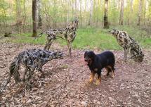 """""""Wölfe"""", eine Skulptur von Marion Burghouwt aus dem Jahre 2010 im Wald außerhalb von Marienburg/Mark"""