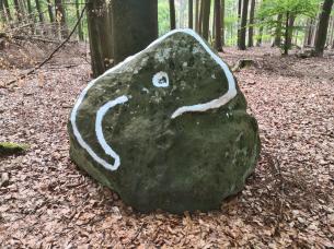 Markierung nahe der alten Opfersteine im Leistruper Wald