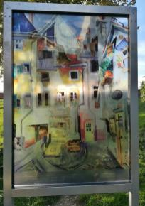 Glasmalerei im kleinen Park an der Gerberschanze