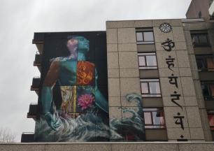 Wandgemälde am frisch renovierten Haus Mahameru von Yoga Vidya