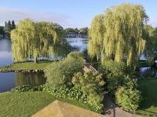 Der Schlossgarten grenzt direkt an den Schweriner See
