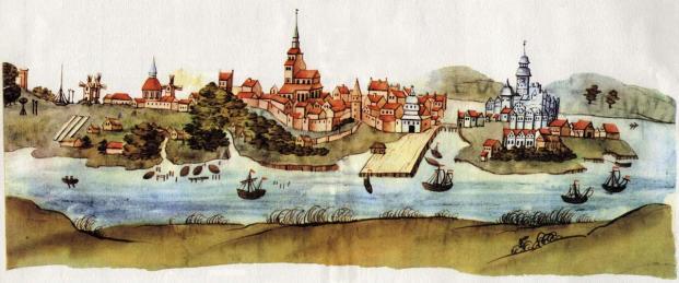 Historische Stadtansicht von 1615 mit dem Schloss, das später verfiel