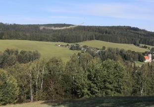 Ein Hubschrauber wirft Kalk über dem Wald am Schwarzberg ab