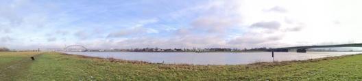 Panoramabild von den Rheinwiesen mit Blick zum Düsseldorfer Funkturm in der Bildmitte