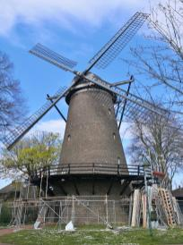 Derzeit eingerüstet: Die Gommansche Mühle