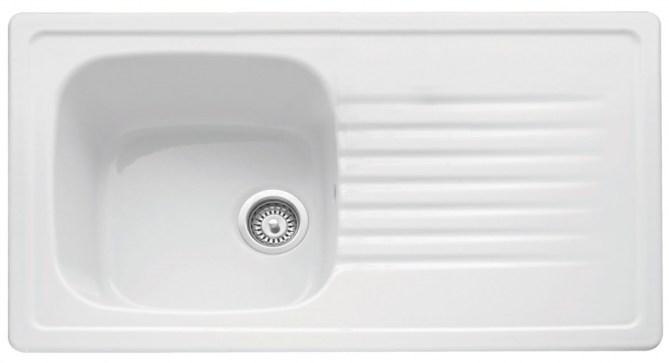 Bluci Ashton 100 Single Bowl Ceramic Kitchen Sink with Drainer
