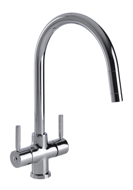 Bluci Santero Pull Out Rinse Twin Lever Kitchen Tap
