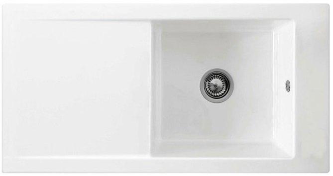 Bluci Avara 100 Single Bowl Ceramice Kitchen Sink with Drainer