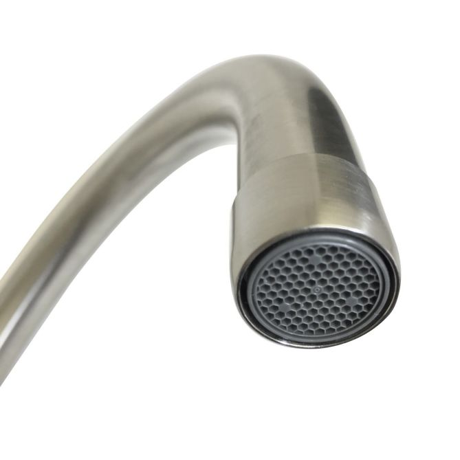 Bluci Nenbro spout detail in brushed nickel finish