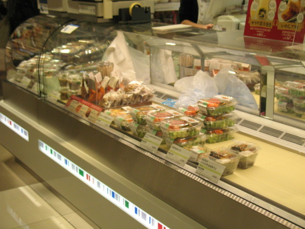 Japanese style chowmein at 500 yen, meal size seafood salad at 600 yen. (C) JP Rail