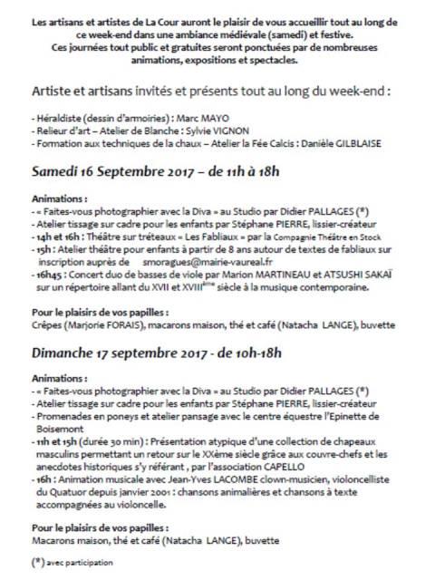patrimoine 2017 programme cour des arts Vaurea