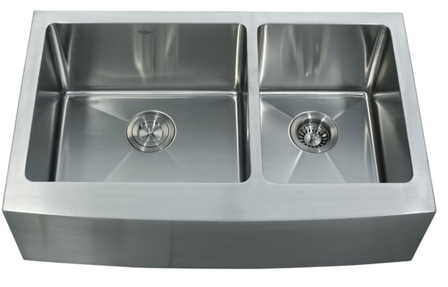 kraus khf 203 33 33 double bowl steel farmhouse sink on farmhouse sink lowest price id=17368