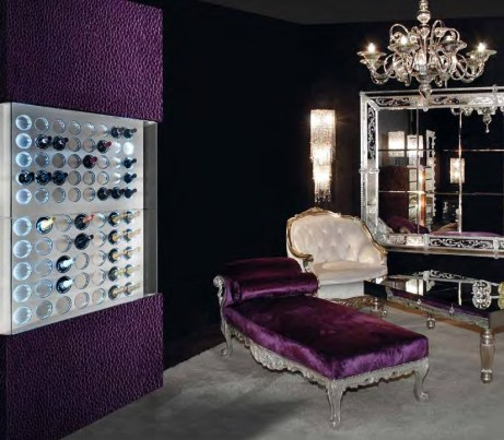 Purple leather storage for luxury Wines
