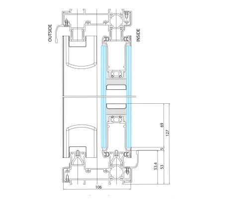 Side elevation technical drawing Standard Threshold