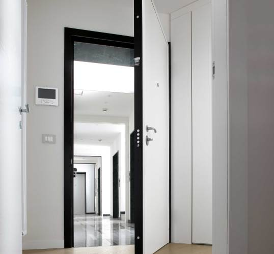 white concealed hinge security door