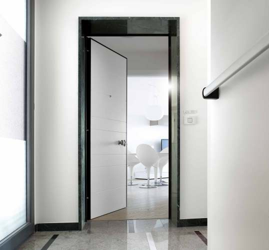 architecturally designed white security door