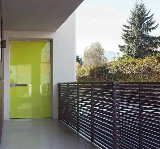 lime green pivot security door