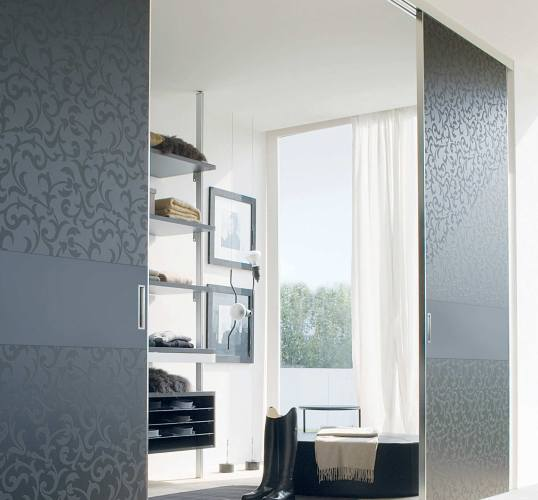 Double Sliding Doors with patterened glass