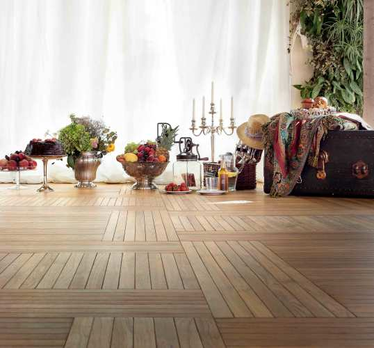 Carved Solid Teak Flooring